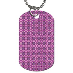 Floral Circles Pink Dog Tag (two Sides) by BrightVibesDesign