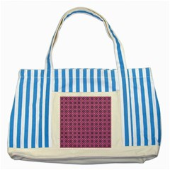 Floral Circles Pink Striped Blue Tote Bag by BrightVibesDesign