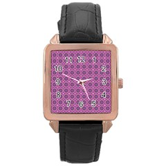 Floral Circles Pink Rose Gold Leather Watch