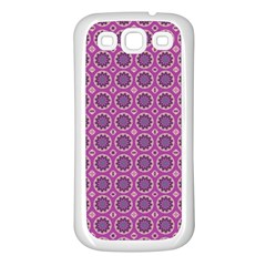 Floral Circles Pink Samsung Galaxy S3 Back Case (white)