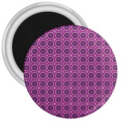 Floral Circles Pink 3  Magnets by BrightVibesDesign
