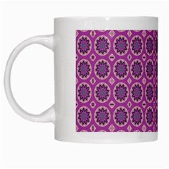 Floral Circles Pink White Mugs