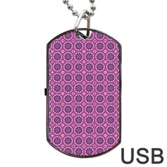 Floral Circles Pink Dog Tag Usb Flash (two Sides) by BrightVibesDesign