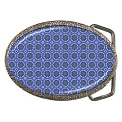Floral Circles Blue Belt Buckles by BrightVibesDesign