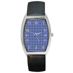 Floral Circles Blue Barrel Style Metal Watch