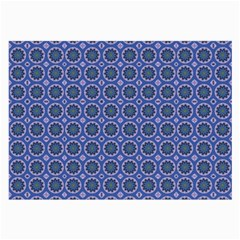 Floral Circles Blue Large Glasses Cloth (2 Side) by BrightVibesDesign