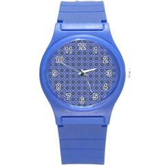 Floral Circles Blue Round Plastic Sport Watch (s) by BrightVibesDesign