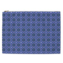 Floral Circles Blue Cosmetic Bag (xxl) by BrightVibesDesign
