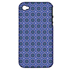 Floral Circles Blue Apple Iphone 4/4s Hardshell Case (pc+silicone) by BrightVibesDesign