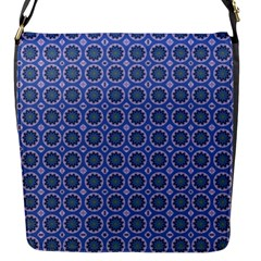 Floral Circles Blue Flap Closure Messenger Bag (s)