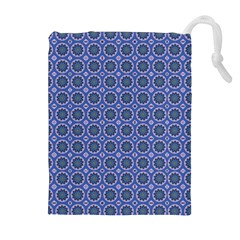 Floral Circles Blue Drawstring Pouch (xl) by BrightVibesDesign