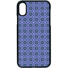 Floral Circles Blue Apple Iphone X Seamless Case (black) by BrightVibesDesign