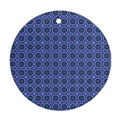 Floral Circles Blue Ornament (round)