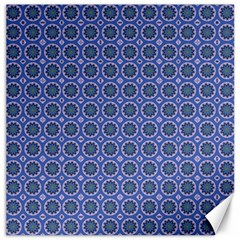 Floral Circles Blue Canvas 20  X 20  by BrightVibesDesign