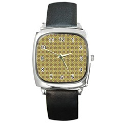 Floral Circles Yellow Square Metal Watch by BrightVibesDesign