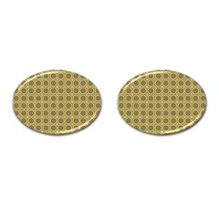 Floral Circles Yellow Cufflinks (oval) by BrightVibesDesign