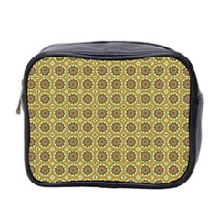 Floral Circles Yellow Mini Toiletries Bag (two Sides) by BrightVibesDesign