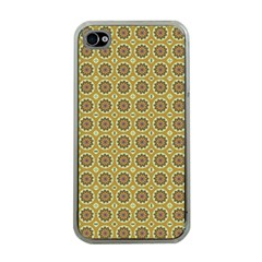 Floral Circles Yellow Apple Iphone 4 Case (clear)
