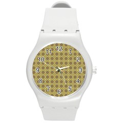 Floral Circles Yellow Round Plastic Sport Watch (m) by BrightVibesDesign