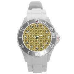 Floral Circles Yellow Round Plastic Sport Watch (l) by BrightVibesDesign