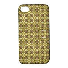 Floral Circles Yellow Apple Iphone 4/4s Hardshell Case With Stand by BrightVibesDesign