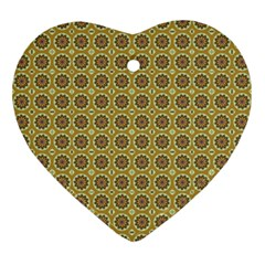 Floral Circles Yellow Ornament (heart) by BrightVibesDesign