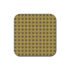 Floral Circles Yellow Rubber Square Coaster (4 Pack)  by BrightVibesDesign