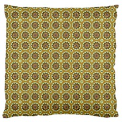Floral Circles Yellow Large Cushion Case (one Side) by BrightVibesDesign