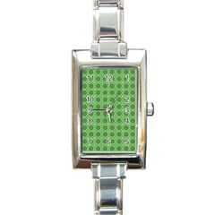 Floral Circles Green Rectangle Italian Charm Watch by BrightVibesDesign
