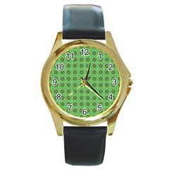 Floral Circles Green Round Gold Metal Watch