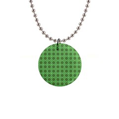 Floral Circles Green Button Necklaces by BrightVibesDesign