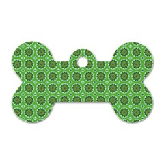 Floral Circles Green Dog Tag Bone (two Sides)