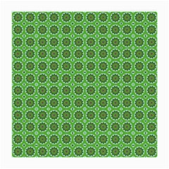 Floral Circles Green Medium Glasses Cloth (2 Side) by BrightVibesDesign