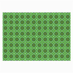 Floral Circles Green Large Glasses Cloth (2 Side) by BrightVibesDesign