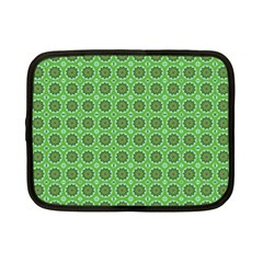 Floral Circles Green Netbook Case (small) by BrightVibesDesign