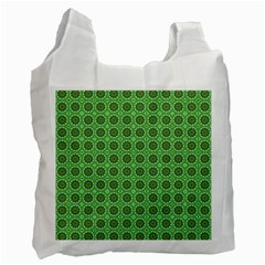 Floral Circles Green Recycle Bag (one Side) by BrightVibesDesign