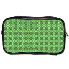 Floral Circles Green Toiletries Bag (one Side) by BrightVibesDesign