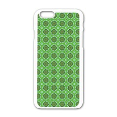 Floral Circles Green Apple Iphone 6/6s White Enamel Case