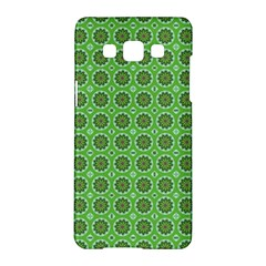 Floral Circles Green Samsung Galaxy A5 Hardshell Case  by BrightVibesDesign