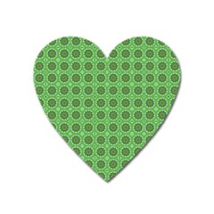 Floral Circles Green Heart Magnet