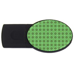 Floral Circles Green Usb Flash Drive Oval (4 Gb)
