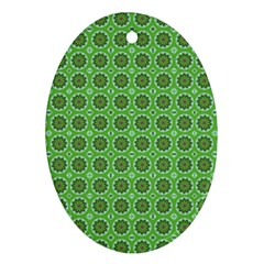 Floral Circles Green Oval Ornament (two Sides)