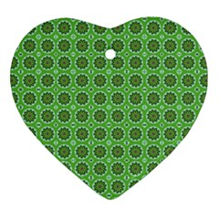 Floral Circles Green Heart Ornament (two Sides) by BrightVibesDesign