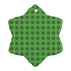Floral Circles Green Snowflake Ornament (two Sides)