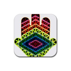 Hamsa Of God Rubber Square Coaster (4 Pack)  by CruxMagic