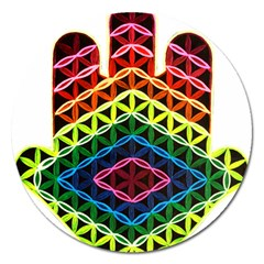 Hamsa Of God Magnet 5  (round) by CruxMagic