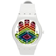 Hamsa Of God Round Plastic Sport Watch (m) by CruxMagic