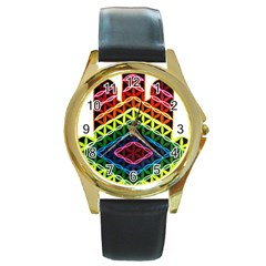 Hamsa Round Gold Metal Watch by CruxMagic