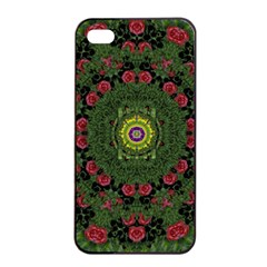 Sunshine Mandala In Rose Heaven Apple Iphone 4/4s Seamless Case (black) by pepitasart