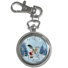 Santa Claus With Cute Pegasus In A Winter Landscape Key Chain Watches by FantasyWorld7